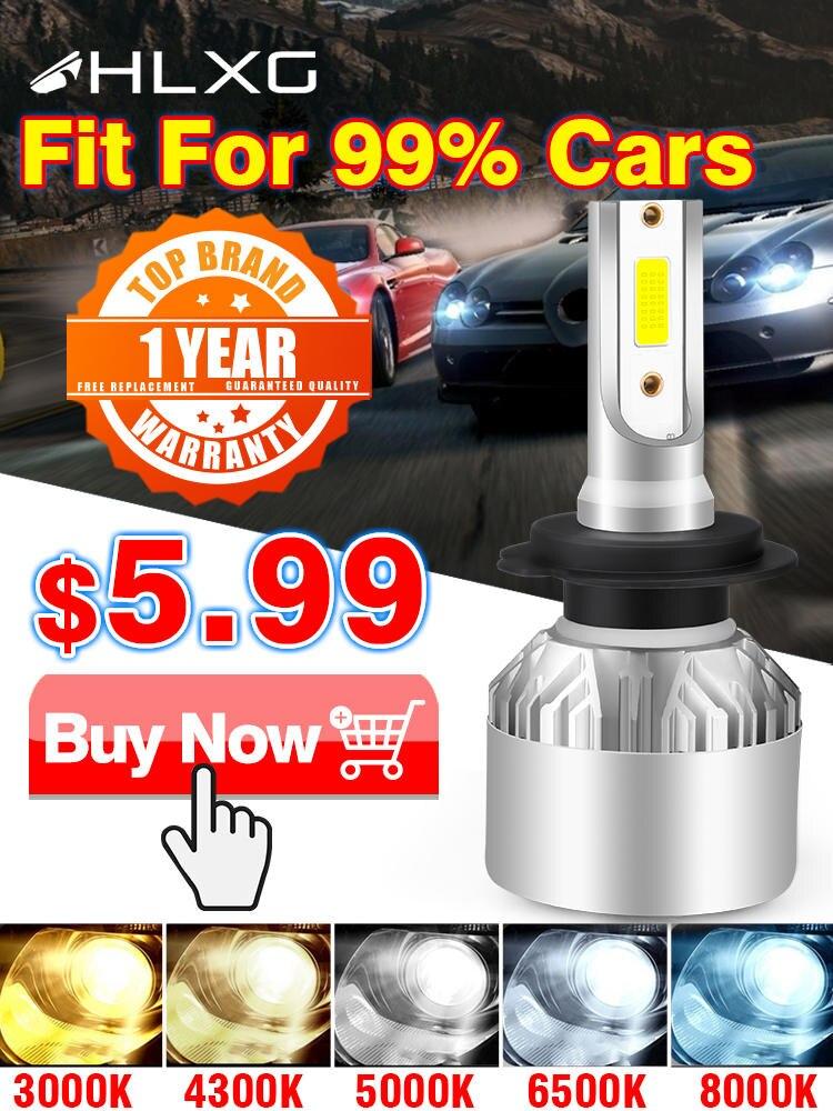 Hlxg H4 светодиодный H7 H11 H8 HB4 H1 H3 9005 HB3 автомобильные лампы для фар машины мотоцикла 8000LM 6500K 4300K 8000K противотуманные фары лампочки для авто светод...