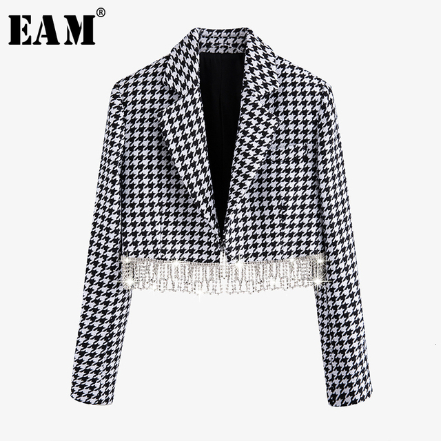 $ US $41.48 [EAM] Loose Fit Black Plaid Rhinestone Tassle Split Short Jacket New Lapel Long Sleeve Women Coat Fashion Tide Spring 2020 1N083
