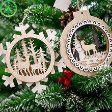 Weihnachten Schneeflocken Deer Baum Muster Natürliche Holz Anhänger 2019 home Party Dekorationen Hängen Geschenke Ornamente liefert