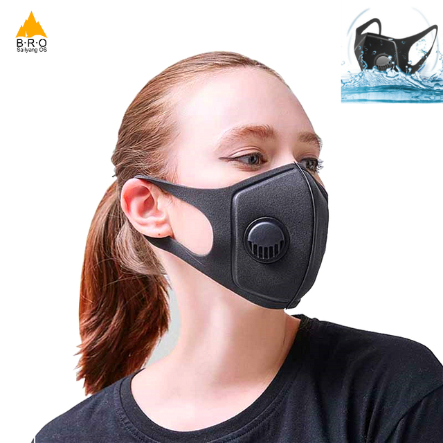 Washable Face Mask with Breath Valve Anti Pollution Filter Masks Cycling Face Shield Breathable Dust Proof PM 2.5 Mouth Mask