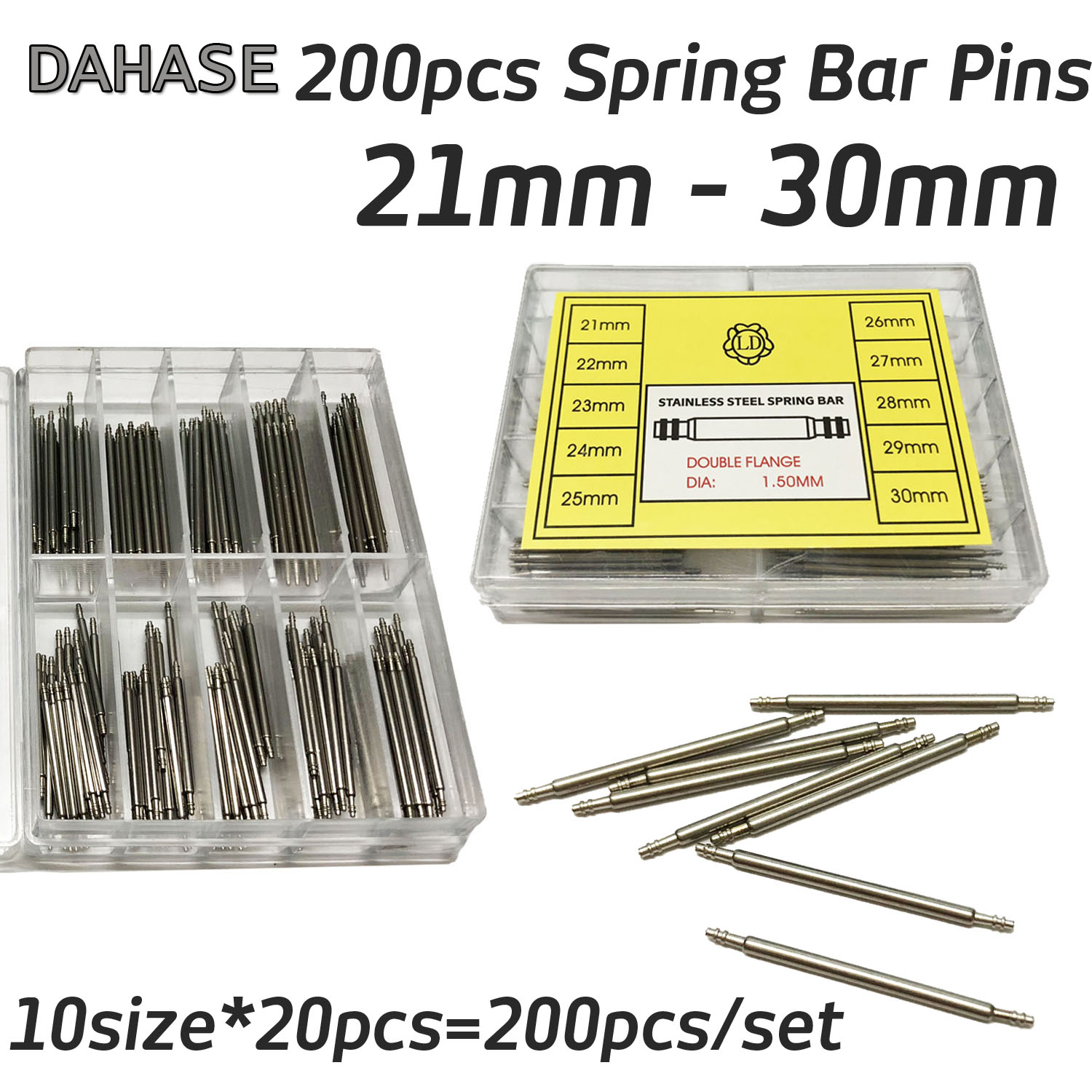 Long 200PCS Watch Band Spring Pins Repair Tool Bar for Watch Strap Release Spring Bars Pin 21 22 23 24 25 26 27 28 29 30mm