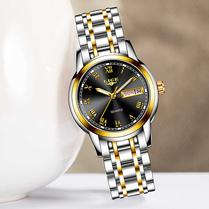 Женские кварцевые часы LIGE, кварцевые наручные часы золотого цвета, 2019