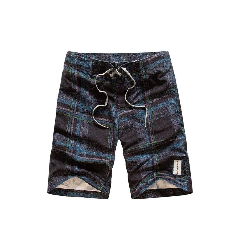 Summer Men Plaid Shorts Korean-style Loose Straight Teenager Men's Shorts Beach Surfing Thin Beach Shorts