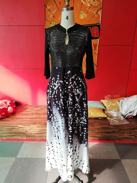Elegant Women Collar Neck Half Sleeve Female African Style 2020 Vintage Women Office Lady Black Dinner Maxi Long Dress Vestiods 2