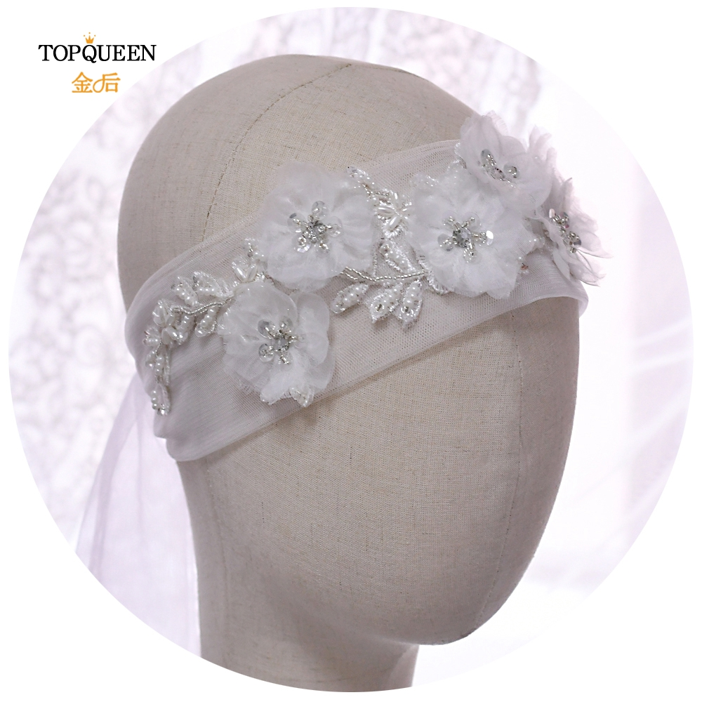 TOPQUEEN WS249 100% Handmade Lace Headband Bridal Wedding Veil  Flower Hairpiece Bride Veil Headpieces Bridal Hair Accessories