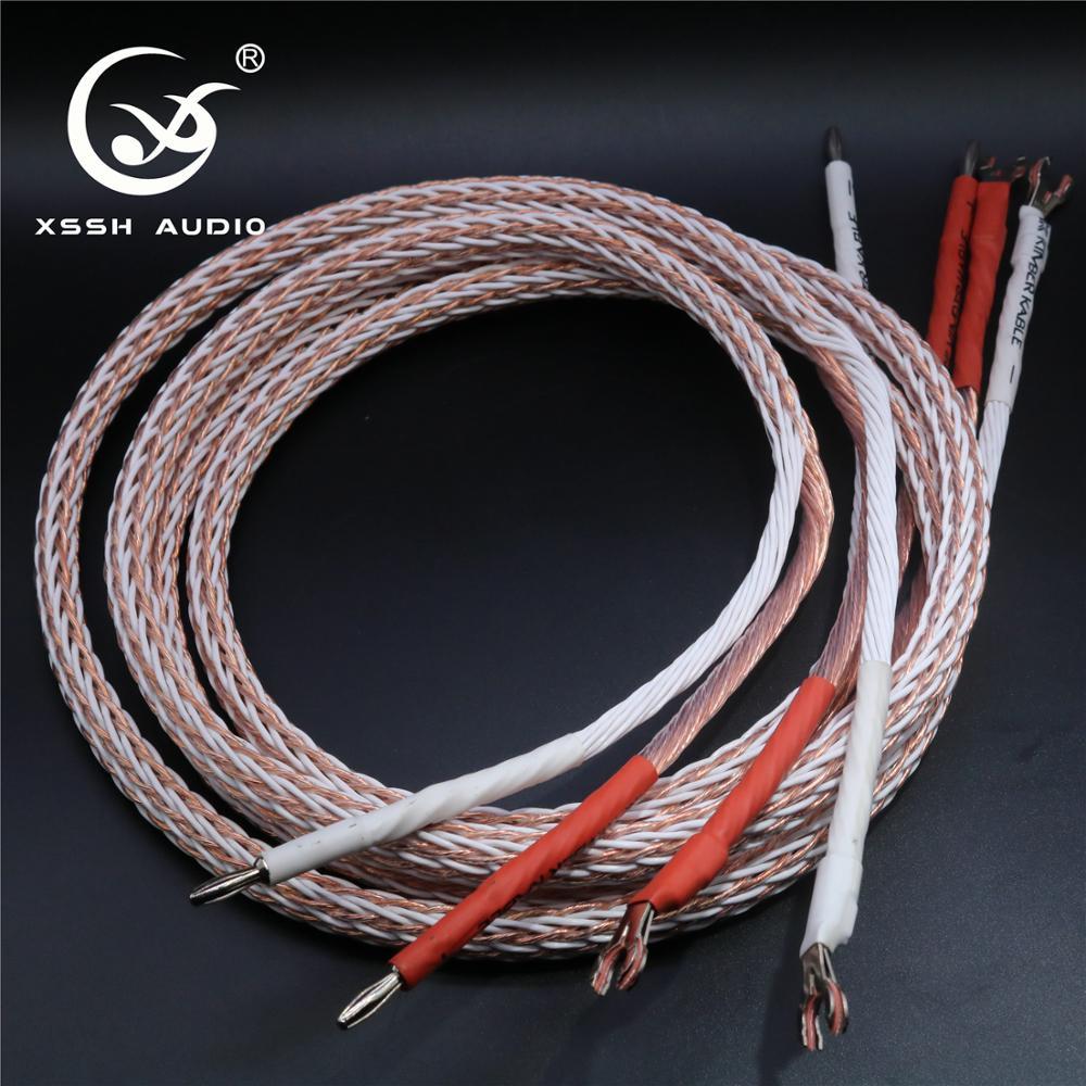 1 paire XSSH audio haut de gamme bricolage HIFI argent plaqué Y forme bêche à fiches banane 12TC 24 core haut-parleur câble cordon fil