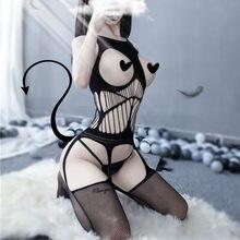 Costumes Sexy en dentelle, épaules dénudées, résille, Body pour femmes, maille, vêtements sexuels, Perspective, entrejambe ouvert, bas