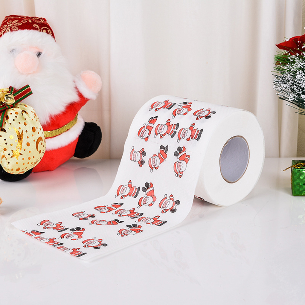 Wood Pulp Toilet Paper Christmas Theme Printed Home Bathroom Toilet Roll Paper Towel Tissue Santa Gift Letter Christmas Tree