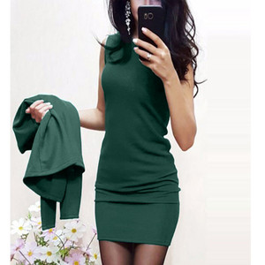Hxroolrp 2019 Autumn New Women Sexy Career Suits Solid Color Cardigan Coats Sleeveless Slim Short Dress Suit Sets F1(China)