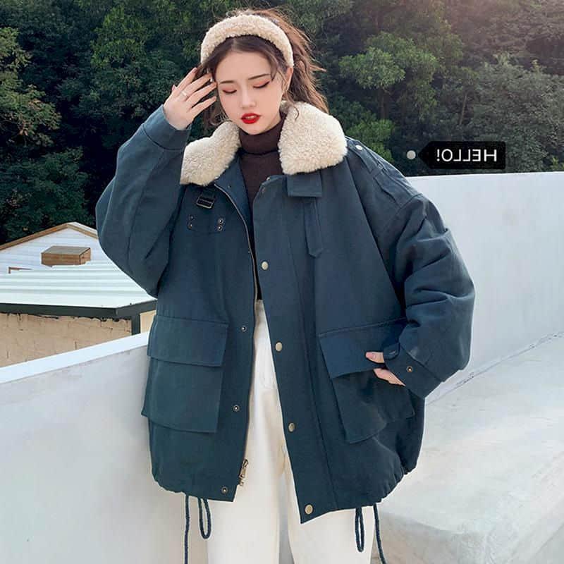 Womens tooling padded jacket female wild thickening velvet retro loose Korean student cotton jacket winter spring new trend tops