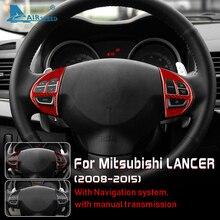 AIRSPEED Carbon Fiber Interior Trim Car Steering Wheel Button Accent Sticker Cover for Mitsubishi Lancer 2008 2015 Accessories