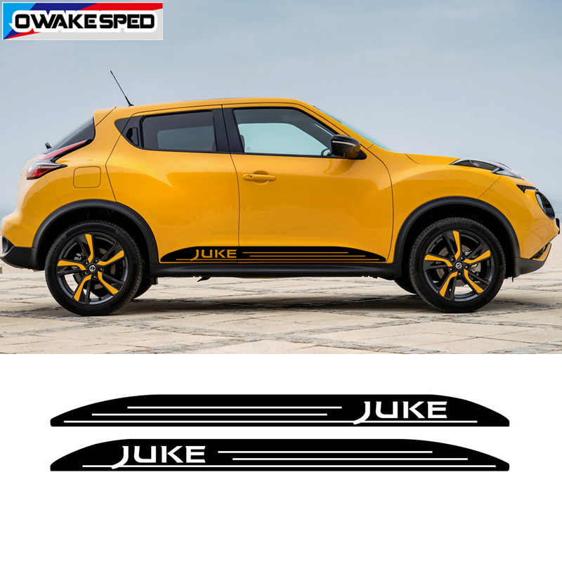 Both Side Racing Stripes For Nissan JUKE NISMO Car Door Skirt Stickers Sport Styling Auto Body Decor Vinyl Decals Accessories