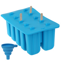 Silicone Popsicle Mold + 100 Wooden Sticks 10 Cavity Ice Cream Molds Maker BPA Free Resuable Easy Release Kitchen Accessories