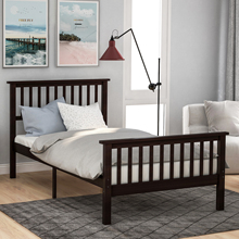 Wood Platform Bed Twin Bed with Headboard and Footboard (Espresso)