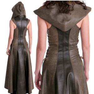 Image 5 - Women fashion Sexy Slim Lace Up Leather Medieval Ranger Long Dress Adult Coats Cosplay disfraz mujer Costume Halloween