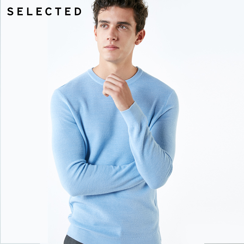 SELECTED New Wool Blend Men's Round Neck Casual Sweater S |418424508