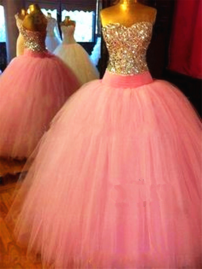 Beautiful Corset Bodice Crystals Long Pink Rhinestones Silver Quinceanera Ball Gown Shining Formal Mother Of The Bride Dresses