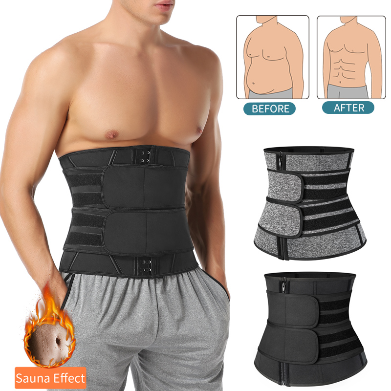 Men Workout Waist Trainer Tummy Slimming Sheath Sauna Body Shaper Trimmer Belt Abs Abdomen Shapewear Weight Loss Corset Fitness