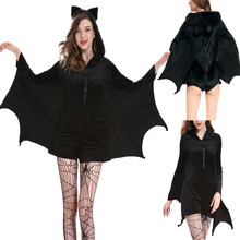 Winter Halloween Cosplay Womens Sexy Bat Wing Sleeves T Shirt Tops Scoop Collar Tees Costumes Plus Size 4XL Freeship