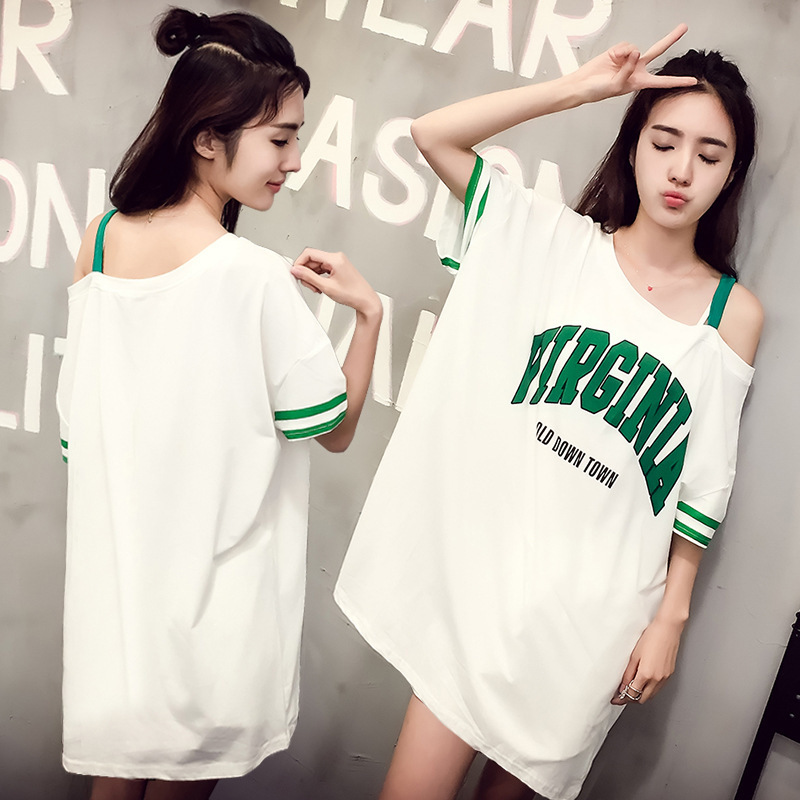 2017 South Korea Hot Selling Women's-off-Shoulder Nightgown Qmilch Off-Shoulder Printed Letter Home Wear