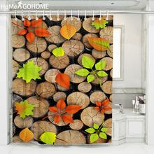 Circle Wood Leaves Shower Curtain Waterproof Fabric Bath Curtain For The Bathroom Decorations 3D Printed Large Shower Curtains waterproof snowman printed bath christmas shower curtain