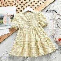 New Summer Cute Girls Dress Kids Clothing Lattice Princess Dresses Children Summer Clothes Baby Girls Dress Casual Wear 2 7T