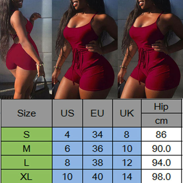 2019 Women Short Sling High Waist Jumpsuit Beach Playsuit Party Club Sexy Summer Soild Sleeveless Bangdage Backless Rompers 4