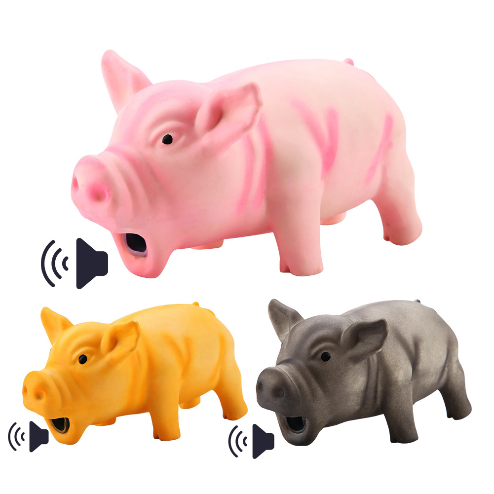 SUEF 1PCS Cute Rubber Sound Pig Grunting Squeak Latex Pet Chew Toys for Dog Squeaker Chew Training Puppy Supplies Pet Products(China)