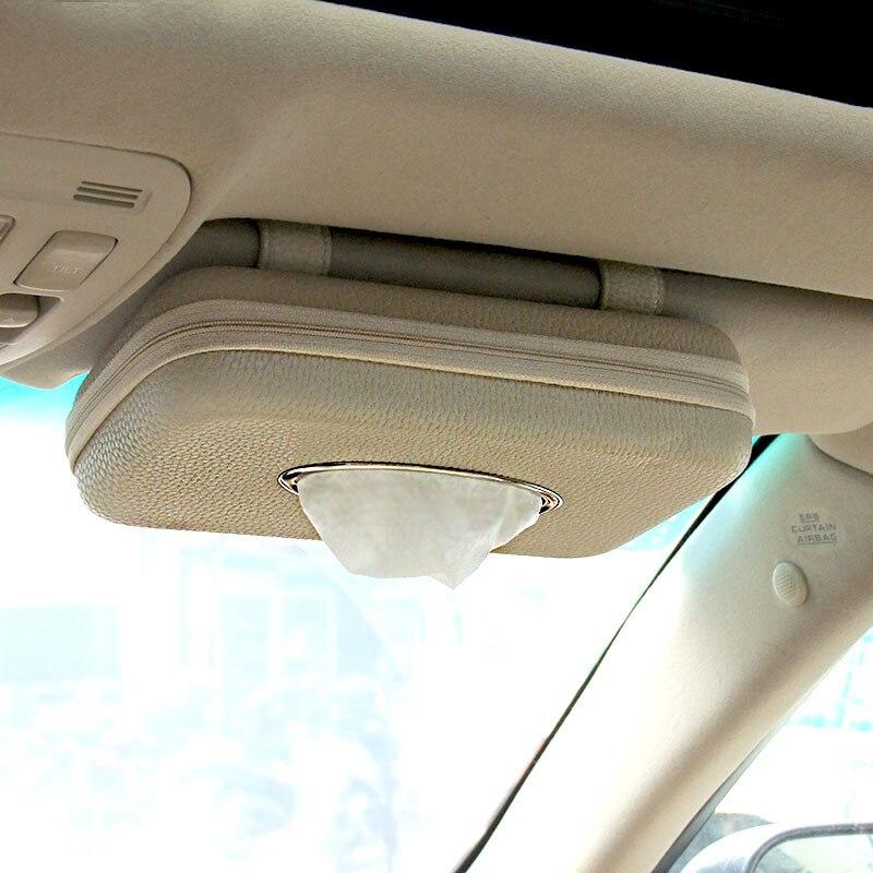 Car Visor Tissue Holder, PU Leather Car Napkin Holder Luxury Car Tissue Box Case Paper Towel Box Car Accessories
