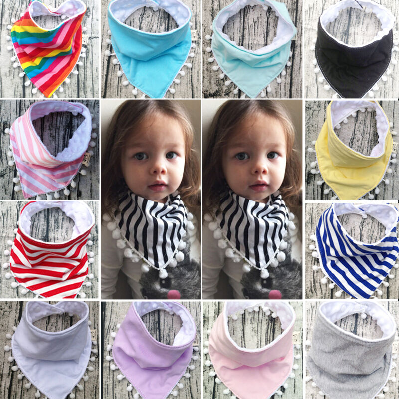 100/% Cotton Infant Kids Baby Bibs Boy Girl Saliva Towel Dribble Triangle Bandana