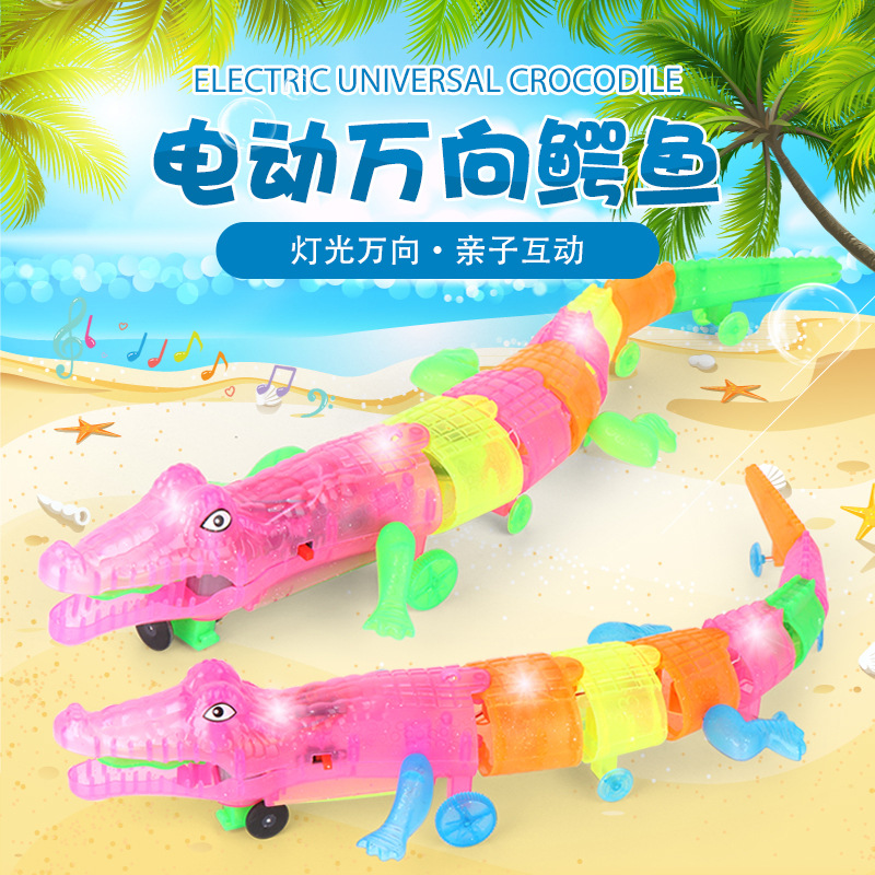 Hot Selling New Products Large Size Leash Crocodile Model Electric Light And Sound Universal Crawling  Toy Stall Supply Of Goods