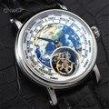 3D 地球リアルトゥールビヨン ST8000 ムーブメントメンズ腕時計クリエイティブデザインエナメルダイヤルアリゲーターレザーメンズ機械式腕時計 -