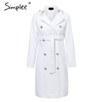 Simplee Vintage double breasted white trench coat for women Sashes slim long trench female Winter office solid trench dress 3