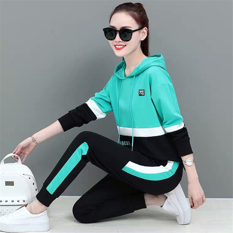 Casual Set Women Spring Sweatshirt Autumn New Fashion Plus Size Loose Long Sleeve Sweater Two-piece Running Female Sportswear