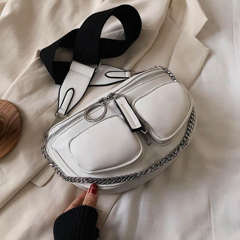Wide Shoulder Belt Crossbody Bags For Women 2020 Chain Designer Shoulder Messenger Handbags Solid Color Design Hand Bag