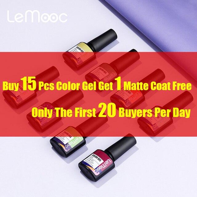 LEMOOC Nail Gel Polish Autumn Winter Color Varnishes Glitter Sequins Soak Off Semi Permanant UV LED Nail Art Hybrid Lacquers 1