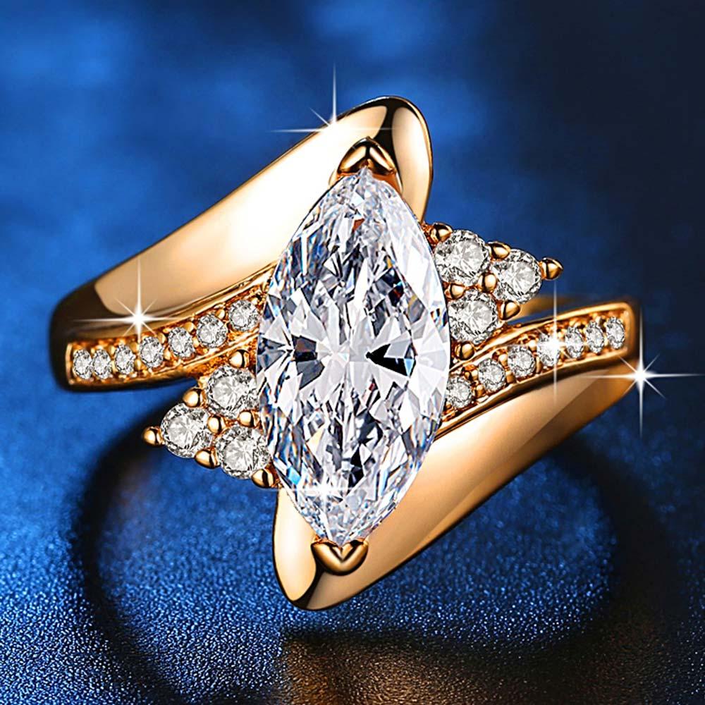 Горячая Распродажа, дизайн, роскошное большое овальное CZ кольцо золотого цвета, обручальное кольцо, хорошее ювелирное изделие для женщин, ювелирных изделий - Цвет основного камня: gold-white