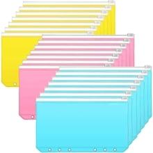 30 Pcs A6 Size Binder Pocket Colorful 6 Holes Loose Leaf Zipper Bag Plastic Binder Zipper Folders Waterproof File Bags