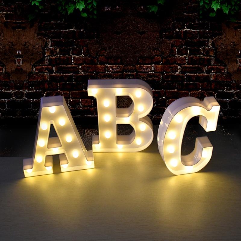 LED mektubu gece lambası alfabe numarası kalp plastik LED ışık düğün için sevgililer günü süsleme doğum günü partisi DIY dekorasyon