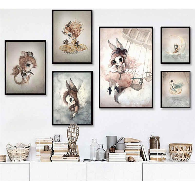 Nordic Leinwand Druck Malerei Wand Kunst Kaninchen Mädchen Abstrakte Kid Schlafzimmer Wohnzimmer Poster Bild Moderne Wohnkultur