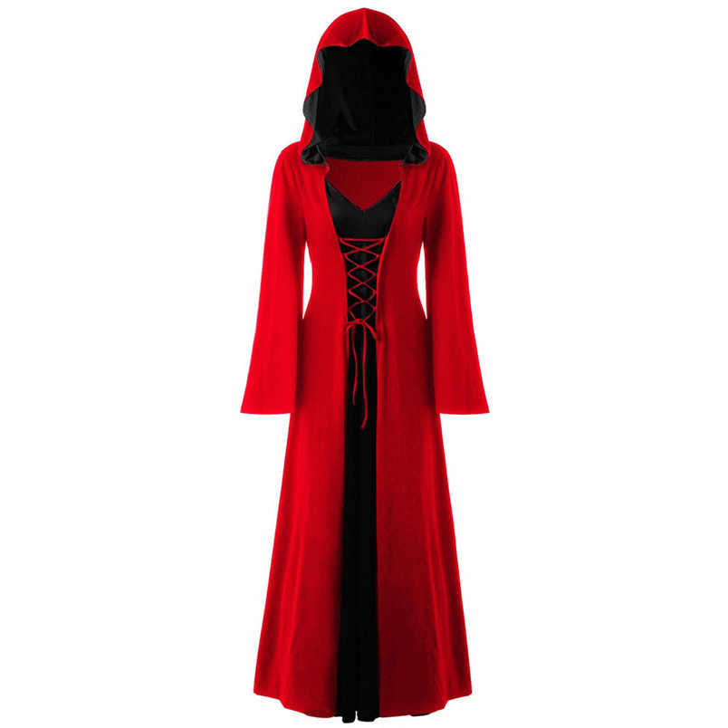 Gothic Stain Cloak Wicca Robe Witch Larp Cape Women Halloween Costumes Vampires Fancy Party robe de plage Size  J23
