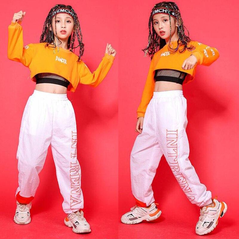 Children Hip Hop Clothing Orange Sweatshirt Top Crop Casual Pants Girl Kid Jazz Dance Wear Costume Ballroom Dancing Clothes