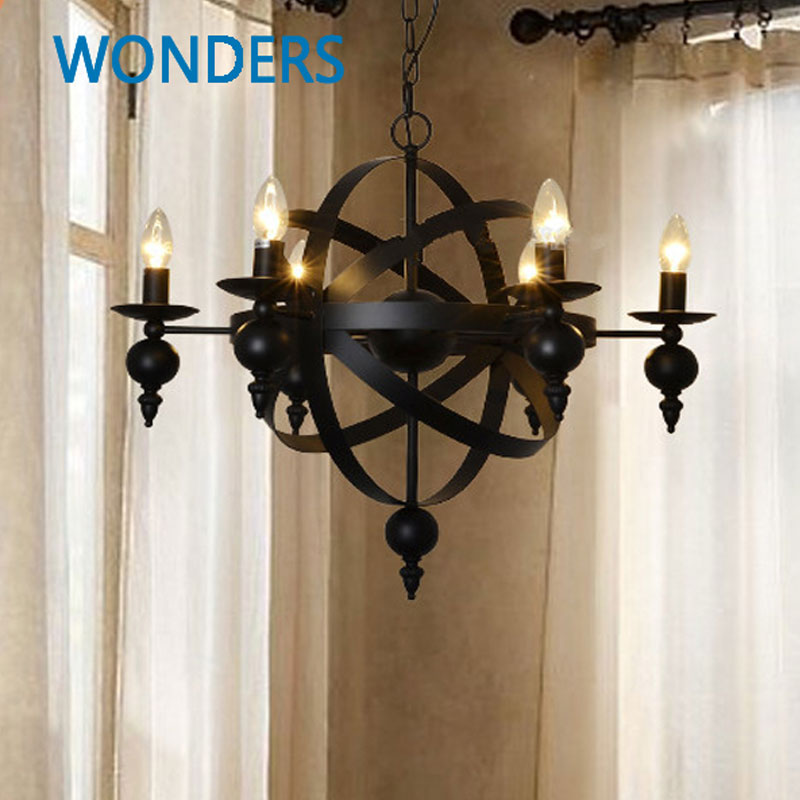 Nordic Amerikaanse Dorp 6 Lichten Kaars Glas Kaars Kroonluchter Erfgoed Frosted Ijzer Woonkamer  Eetkamer  Slaapkamer Bar Decoratie