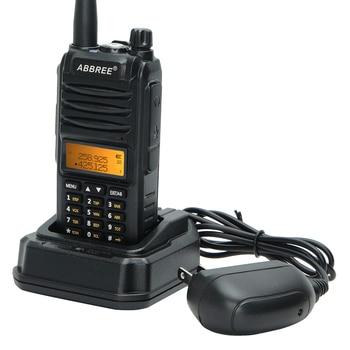2020 abbree ar-f3 walkie talkie 8w uhf vhf 220-260mhz tri-band 2 antenns ham 10km long range two way radio for hunting hiking