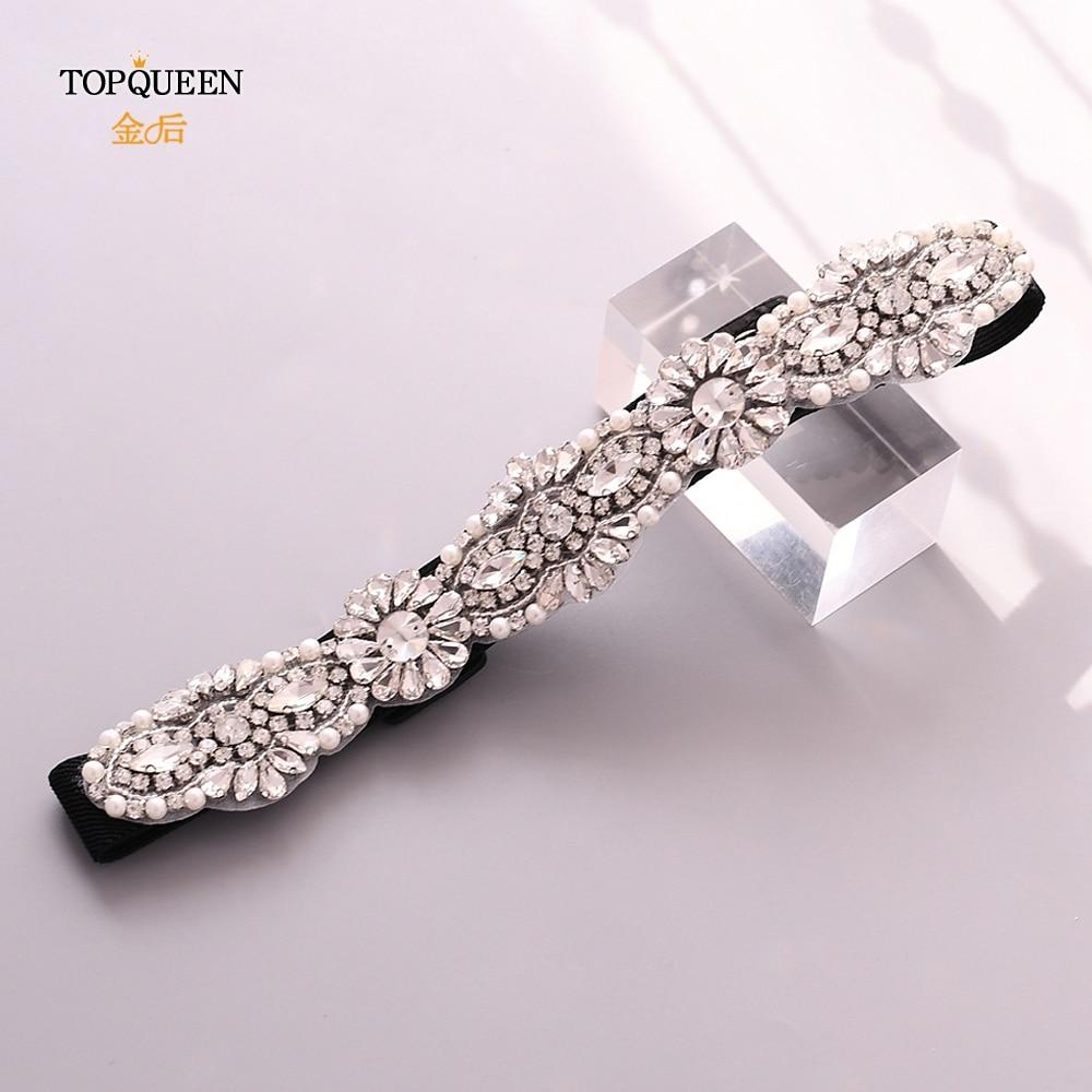 TOPQUEEN S237 Black Beaded Sash Pearl Belts For Dresses Elastic Belt Diamond Pearl Belts For Women Rhinestone Accessory Dress