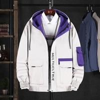 Autumn Fashion Men Jacket Hooded Collar Casual Outwear Korean Style Streetwear Hip Hop Jackets Men Safari Cargo Coats Uniform