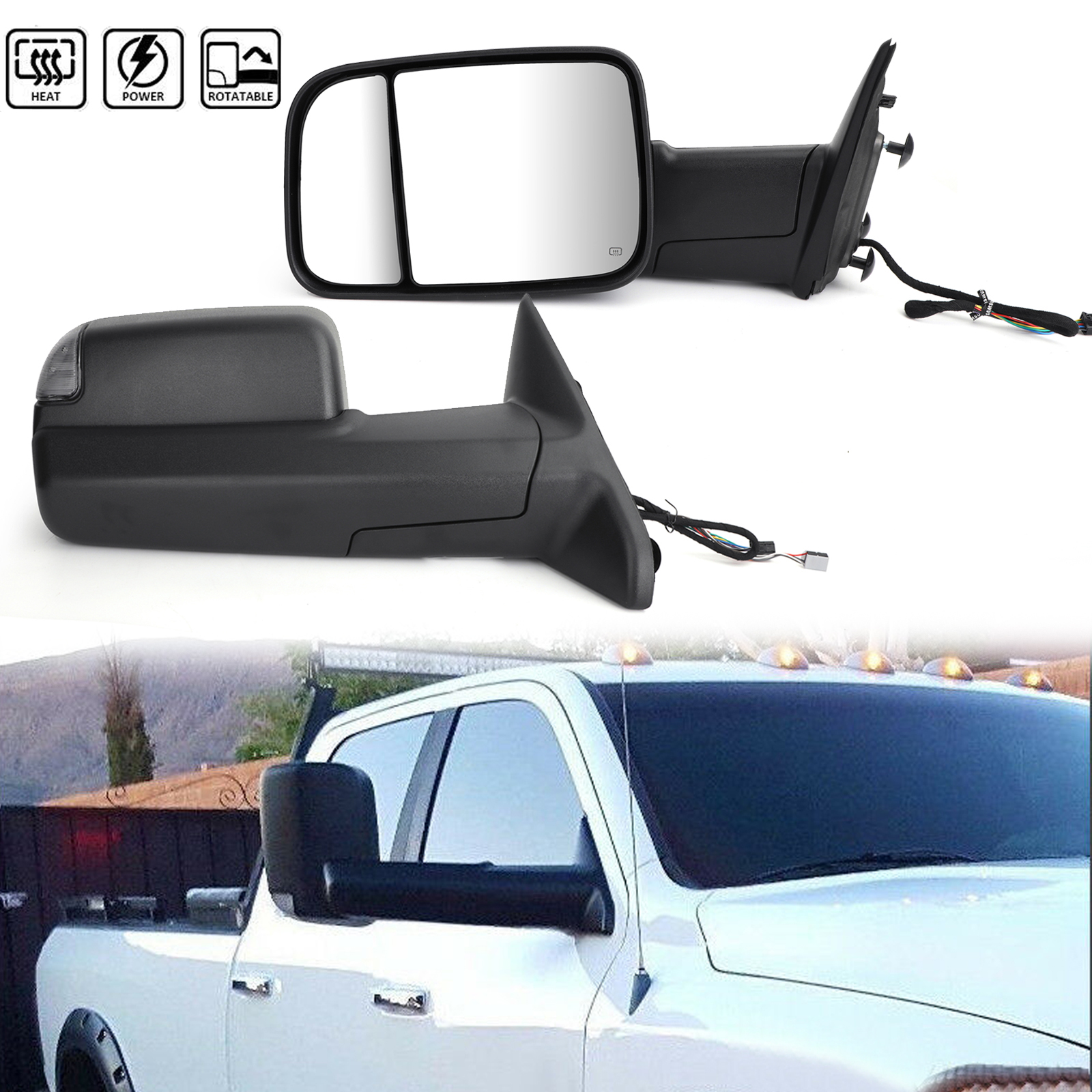 2009-2012 Dodge Ram 1500 Flip Up Towing Trailer Side Mirrors w// Heated