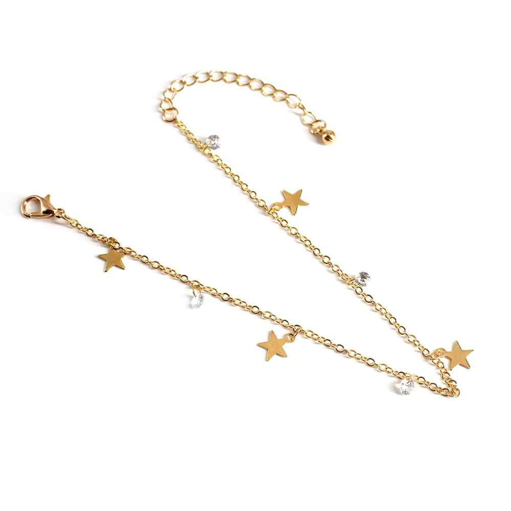 ボヘミアンスタイル五芒星アンクレットファッションシンプルな女性の合金チェーンアンクレットクリスタルペンダントアンクレット女性宝石類のギフト