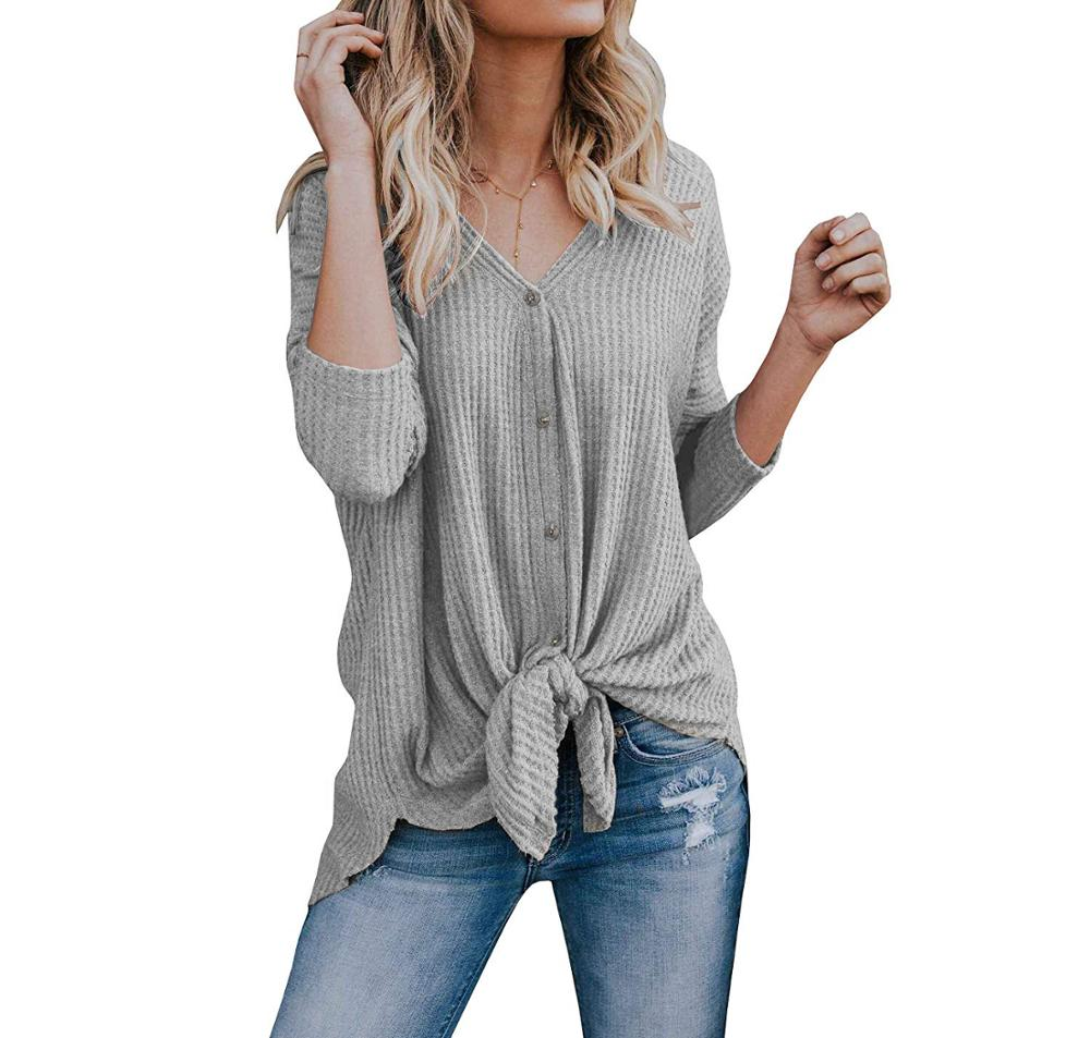 Womens Waffle Knit Tunic Blouse Tie Knot Henley Tops Fitting Bat Wing Plain Shirts