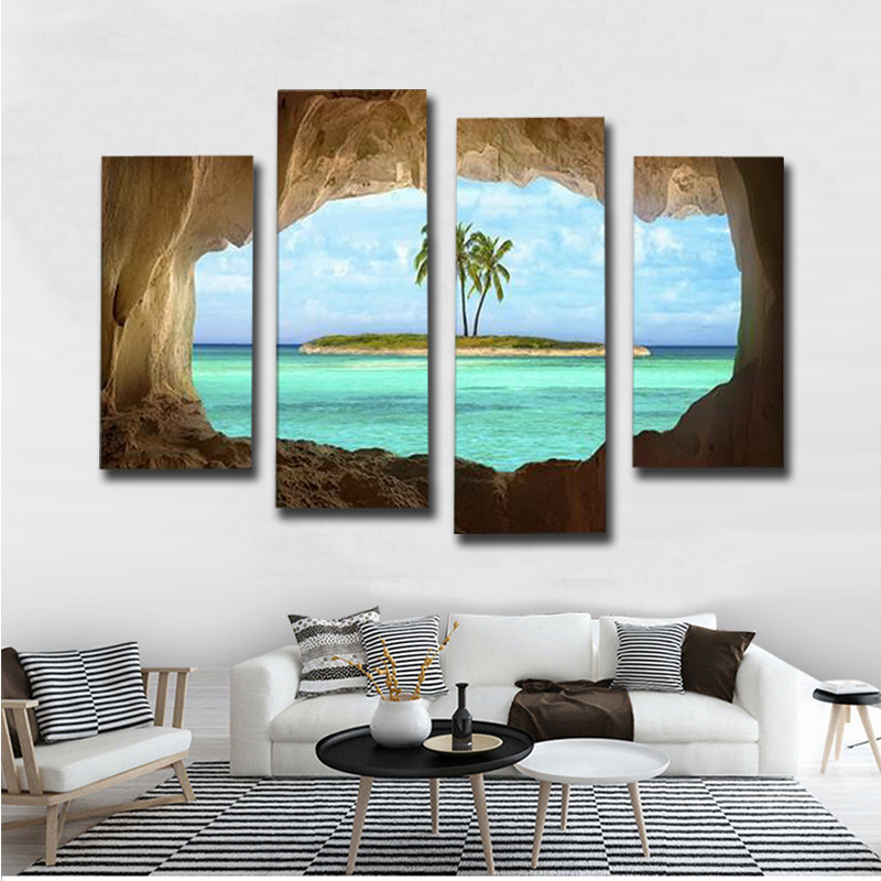 4PCS HD Printing Beautiful Ocean Island Art Painting Poster Modern Living Room Bedroom Home Decoration Picture Without Frame